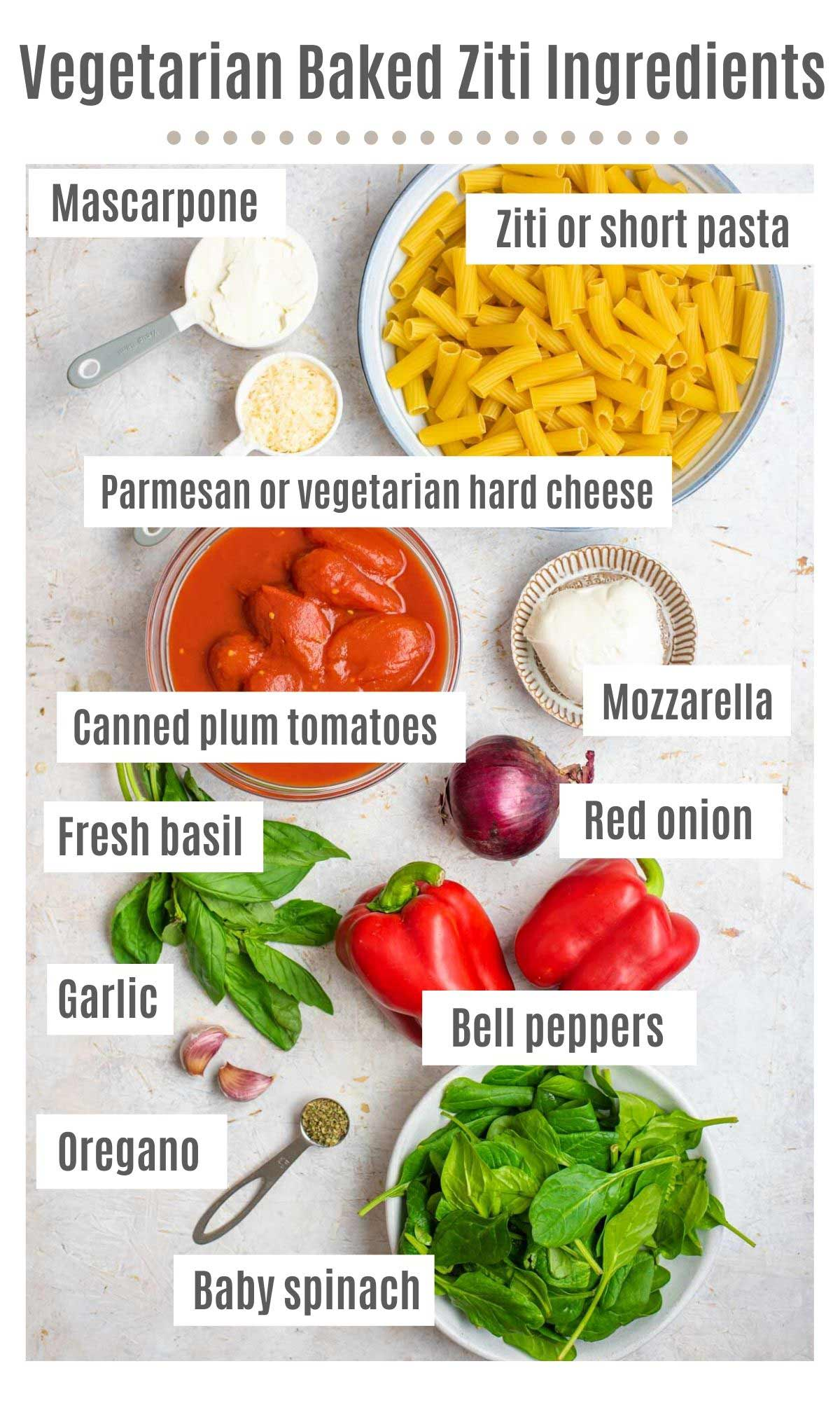 An overhead shot of all the ingredients you need to make a vegetarian baked ziti
