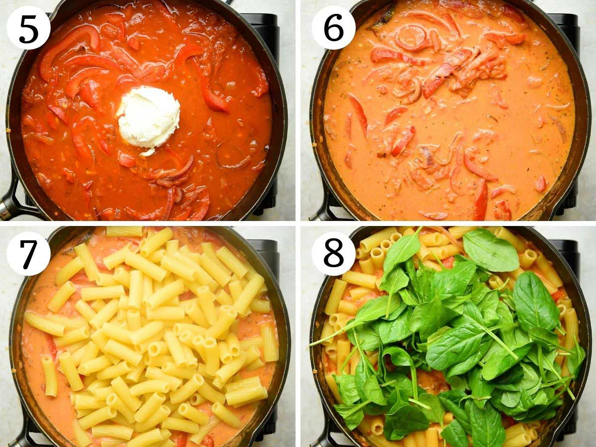 Step by step photos showing how to add pasta and spinach to a creamy pasta sauce