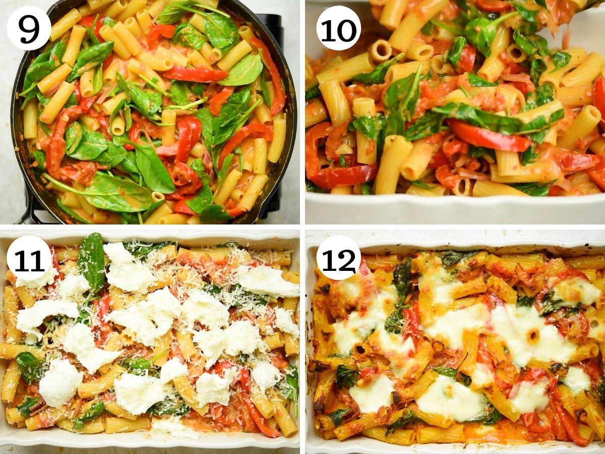 Step by step photos showing how to make vegetarian baked ziti