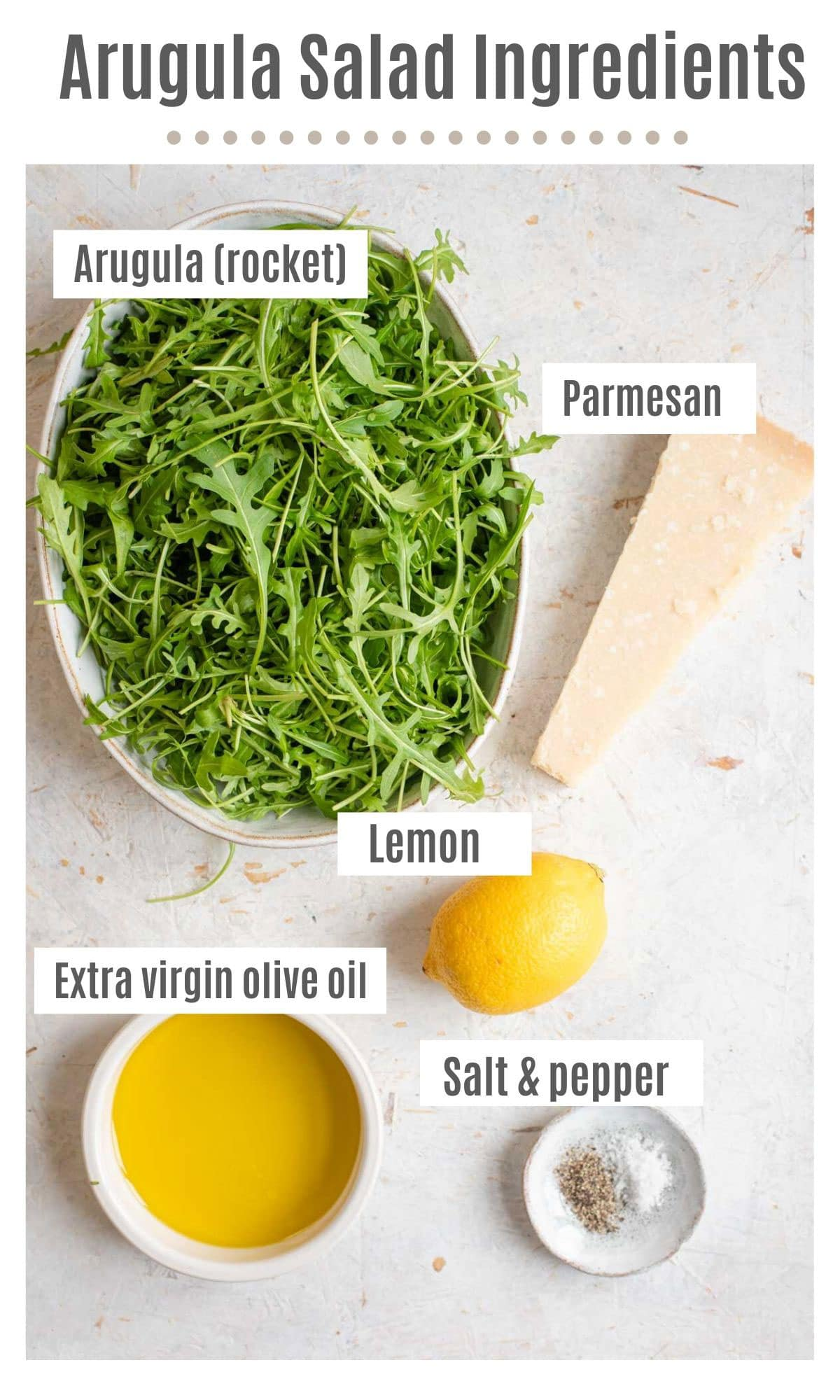 An overhead shot of all the ingredients you need to make an arugula salad