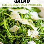 A pinterest graphic of an arugula salad