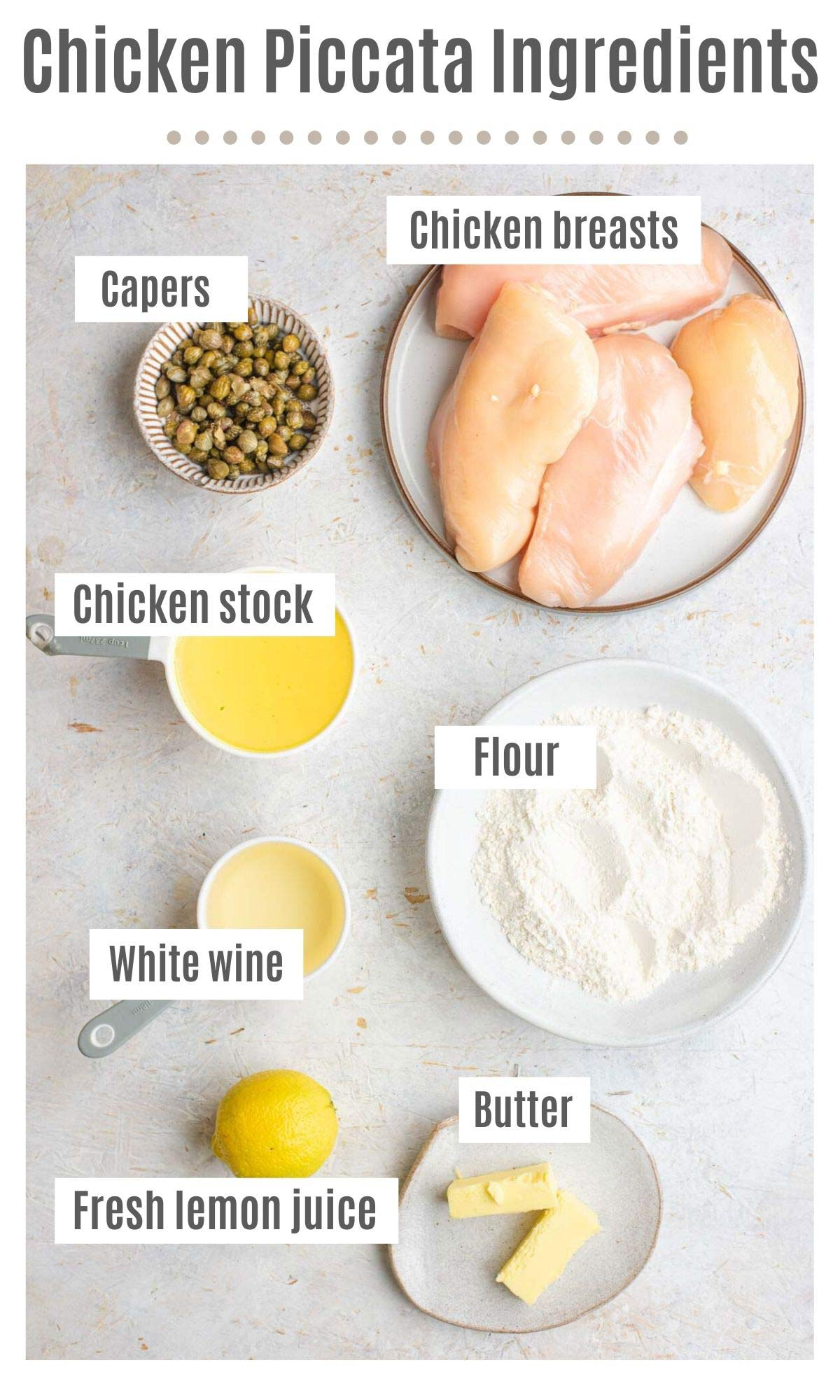 An overhead shot of all the ingredients you need to make Chicken Piccata