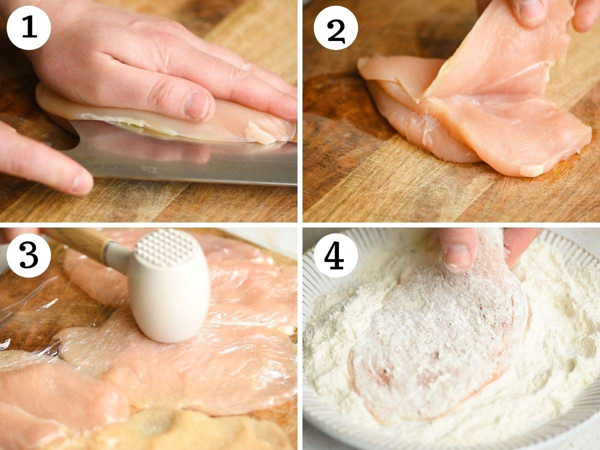 Step by step photos showing how to cut chicken into cutlets and dust in flour