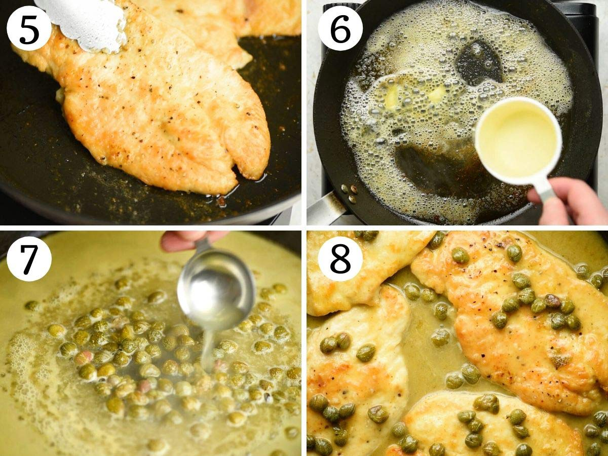 Step by step photos showing how to make chicken piccata with lemon and capers