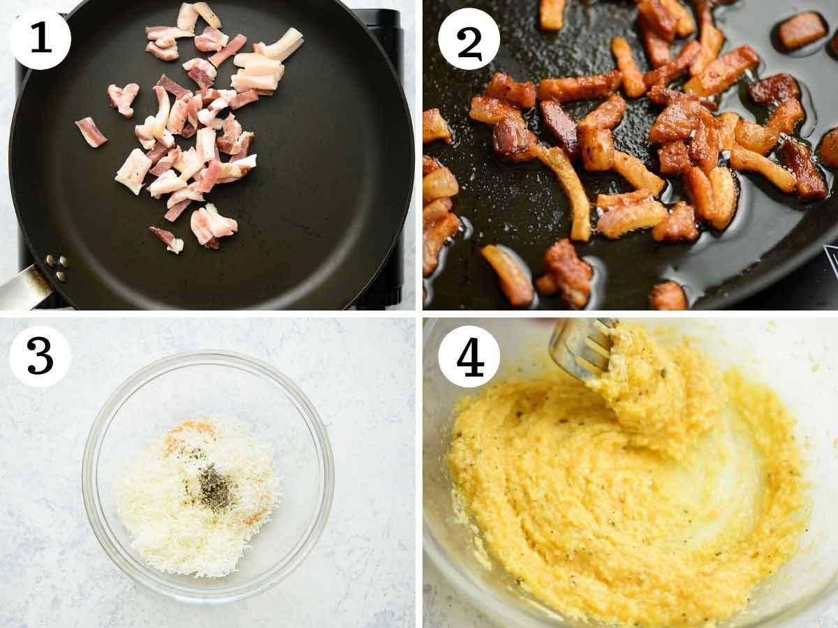 Step by step photos showing how to fry guanciale and make an egg mixture for carbonara