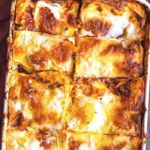 A close up of a beef lasagna