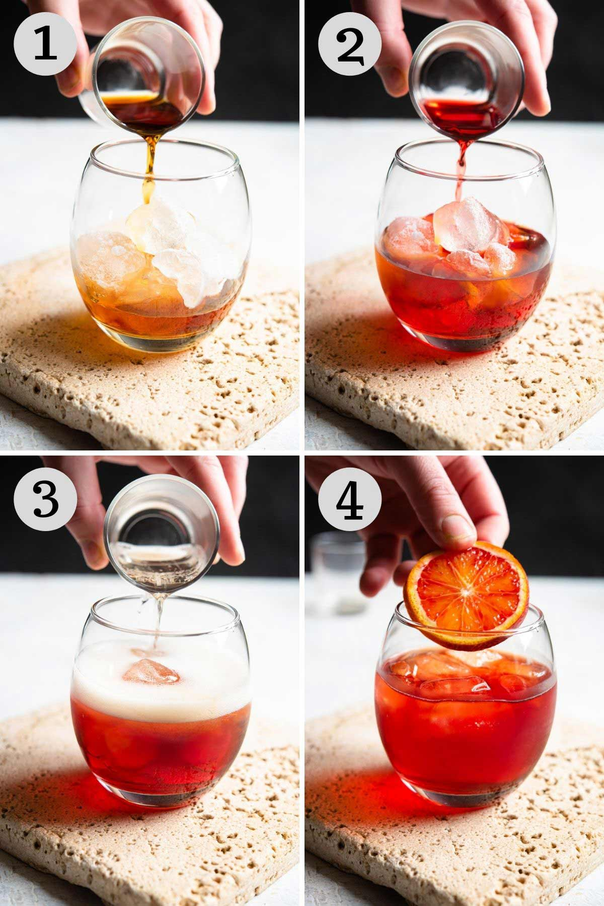 Step by step photos showing how to make a negroni sbagliato
