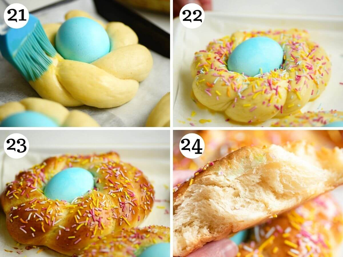 Step by step photos showing Italian Easter bread before and after baking