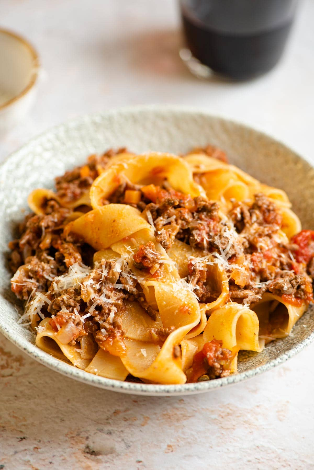 Lamb ragu a pappardelle pasta in a bowl