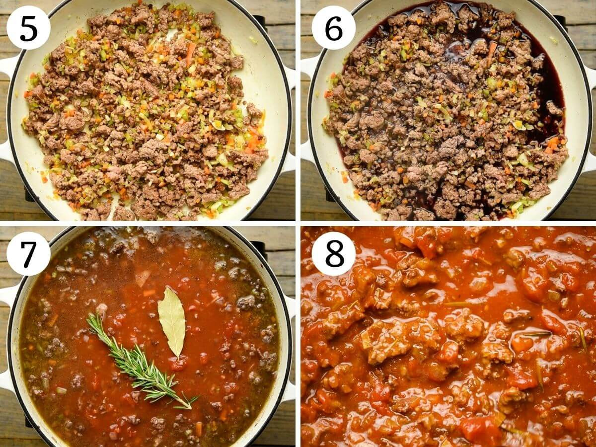 Step by step photos showing how to make lamb ragu