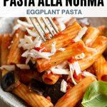 A pinterest graphic of Pasta alla Norma