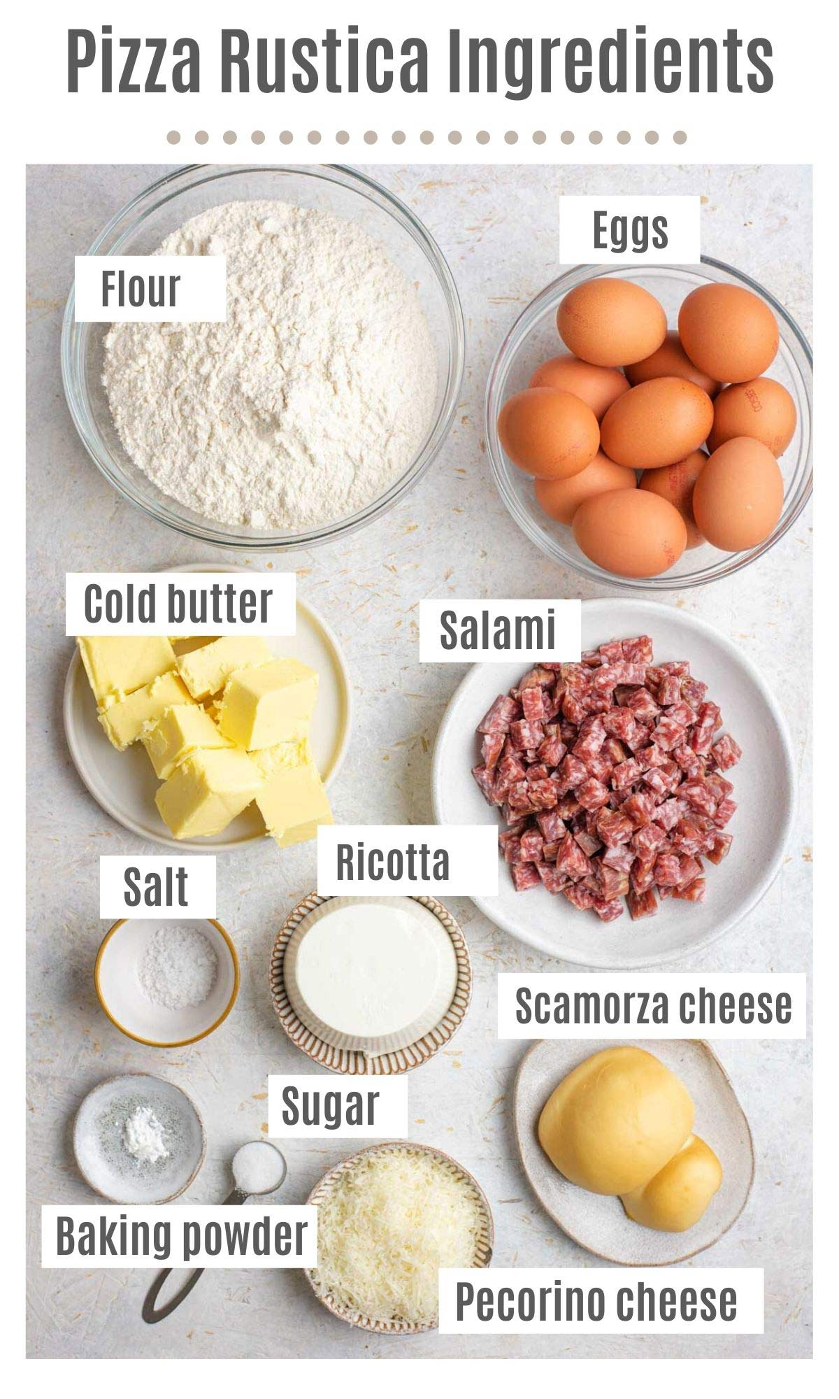 An overhead shot of all the ingredients you need to make Pizza Rustica