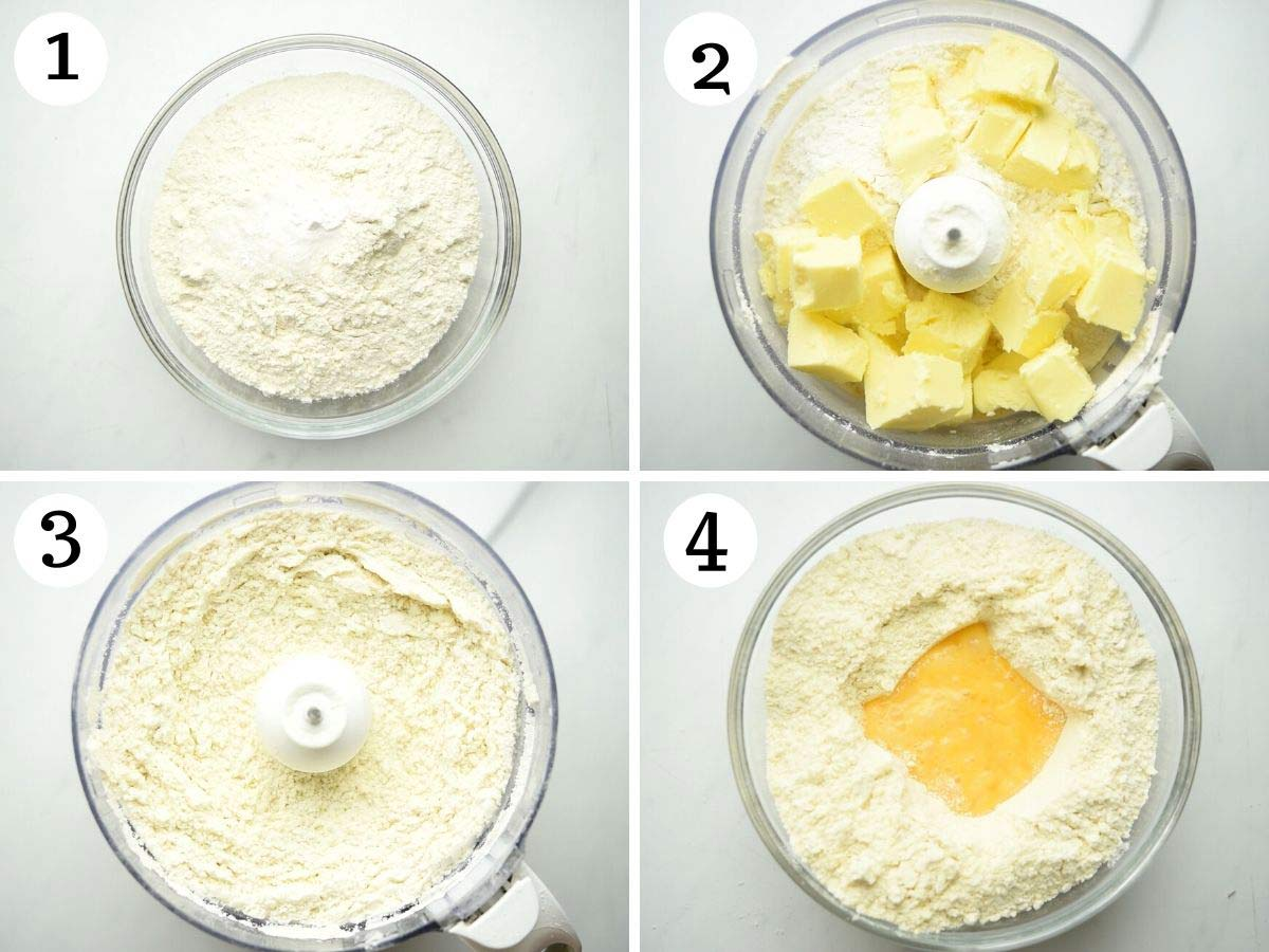 Step by step photos showing how to make pastry in a food processor