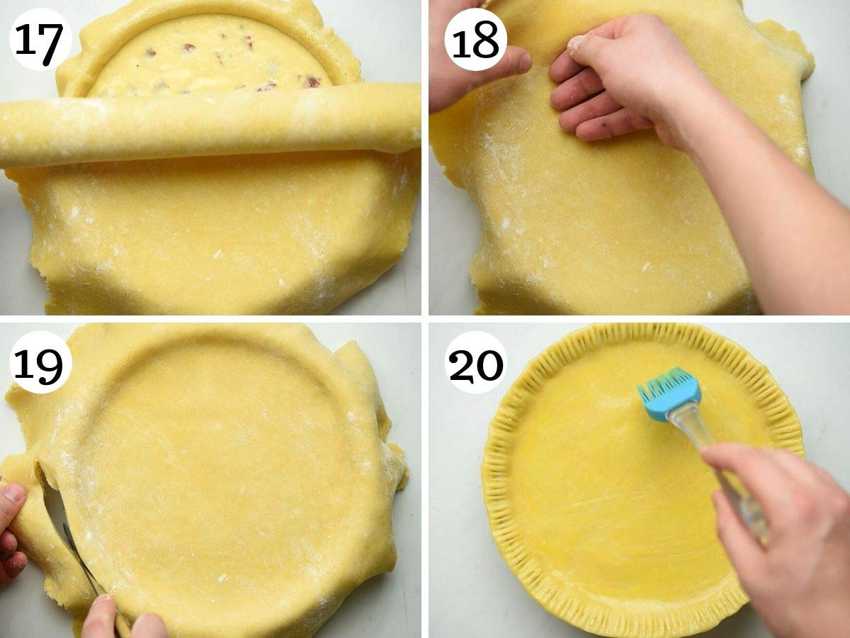 Step by step photos showing how to fill and seal an Italian Easter pie ready for baking
