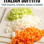 A pinterest graphic of Italian soffritto