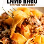 A pinterest graphic of lamb ragu