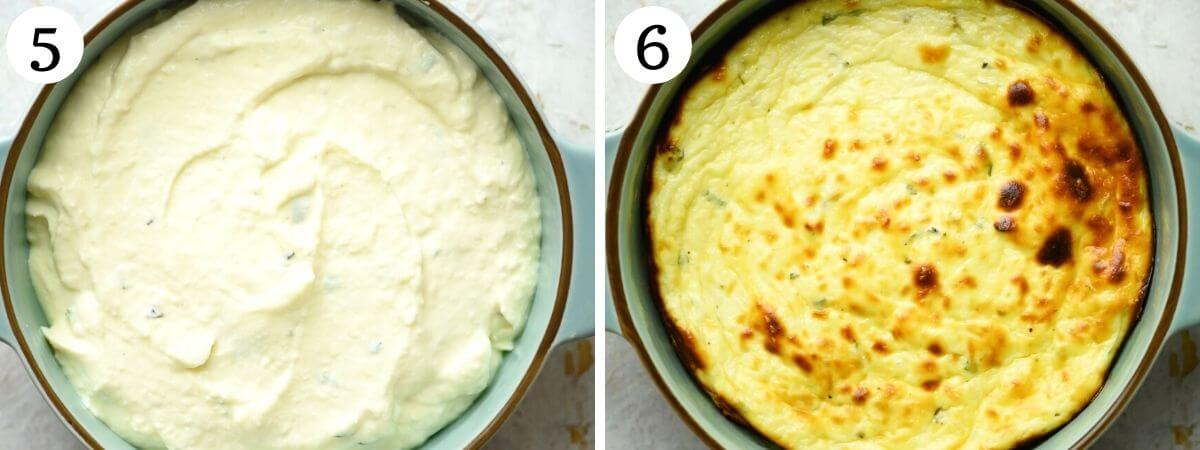 Two photos showing ricotta before and after baking
