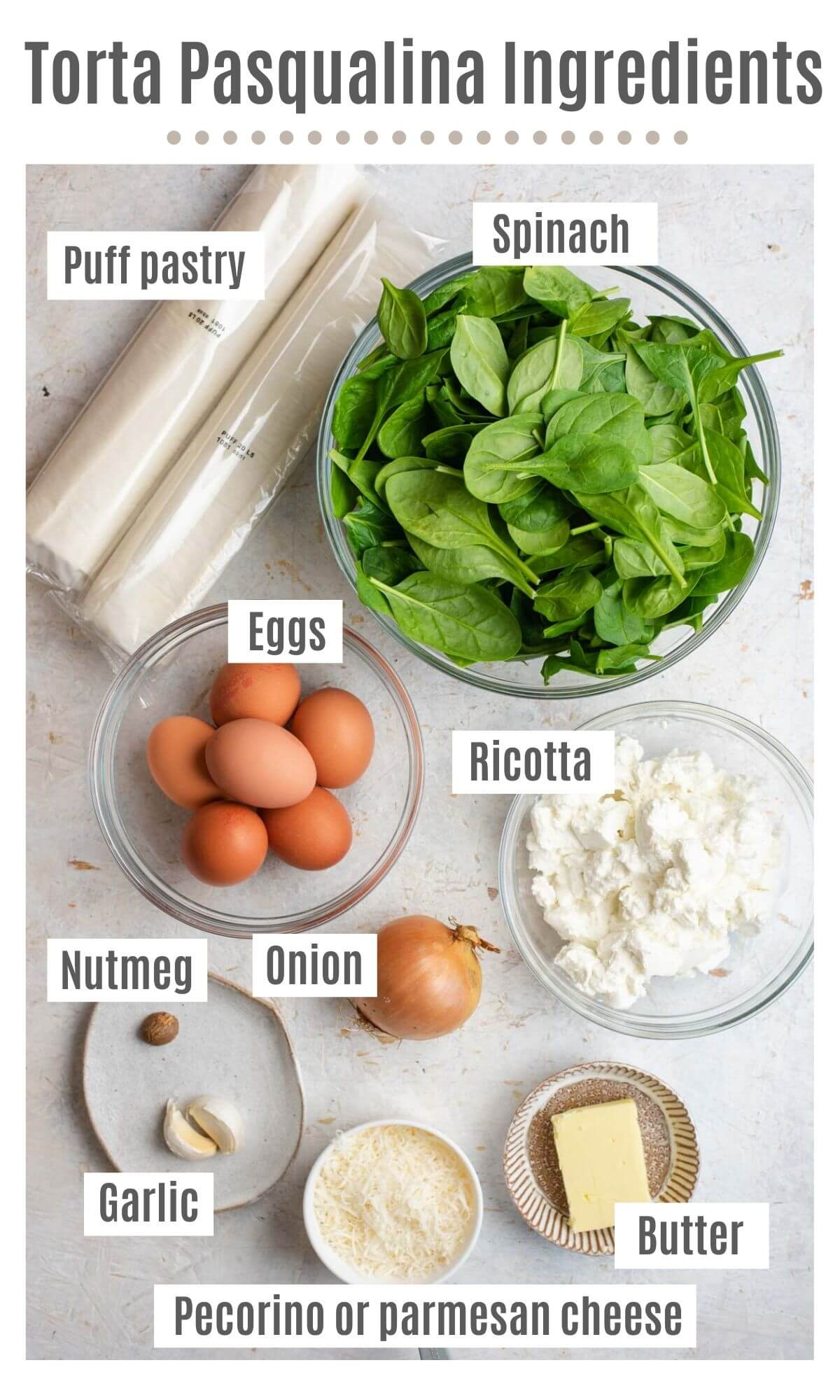 An overhead shot of all the ingredients you need to make Torta Pasqualina