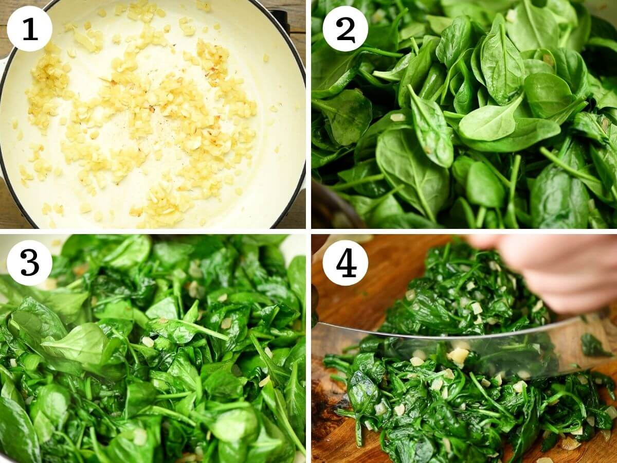 Step by step photos showing how to saute spinach, onion and garlic