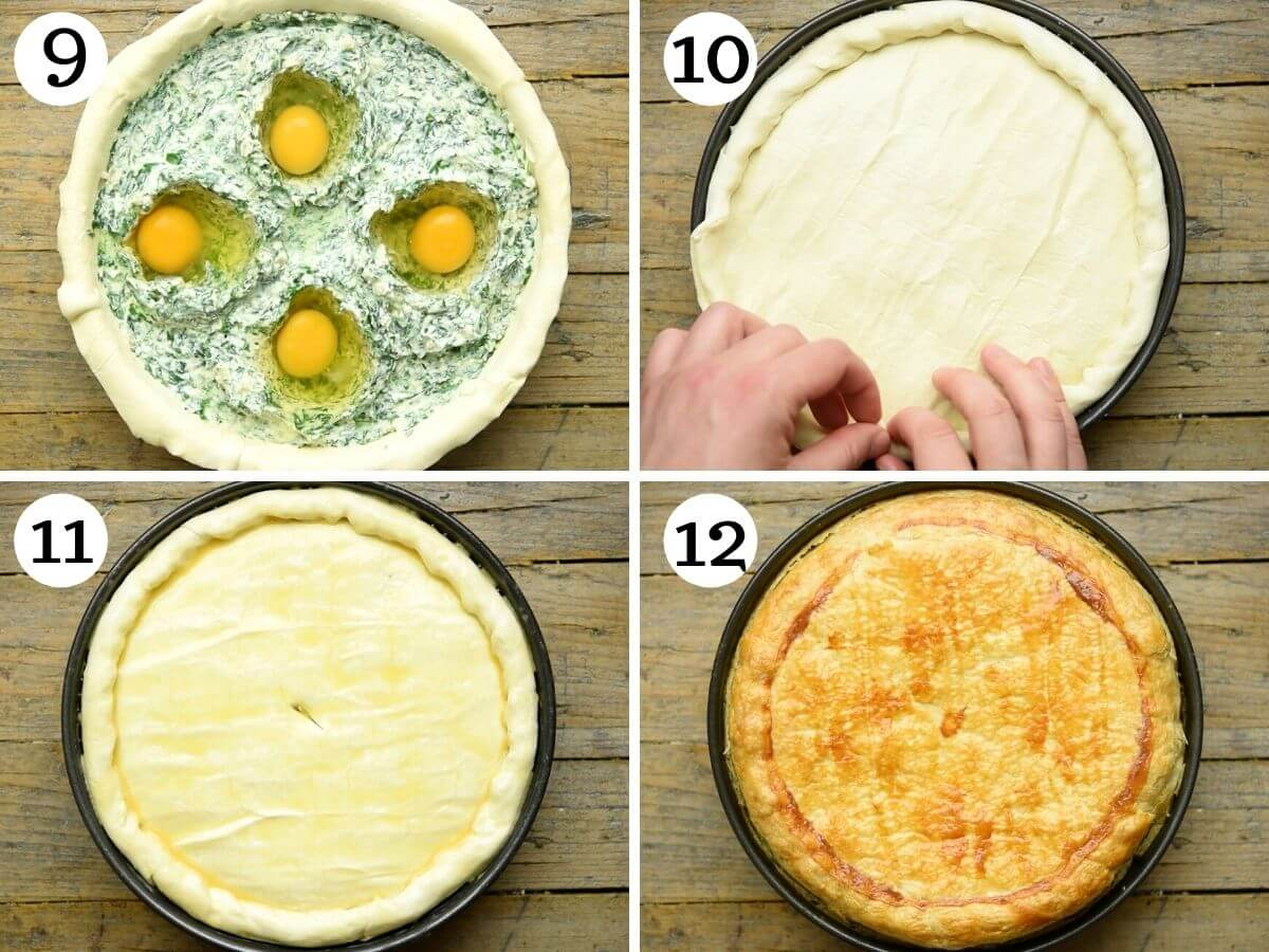 Step by step photos showing how to finish preparing Torta Pasqualina