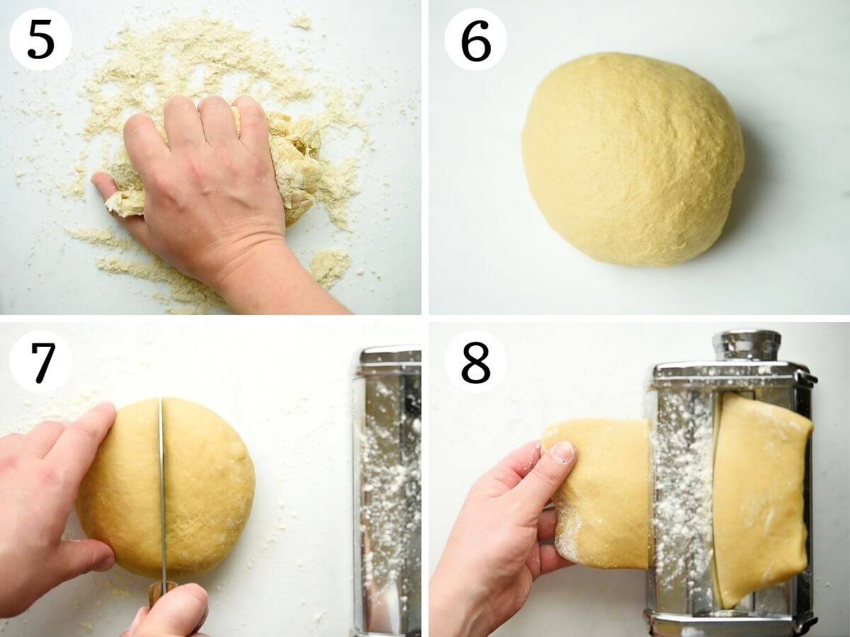 Step by step photos showing how to knead cannoli dough