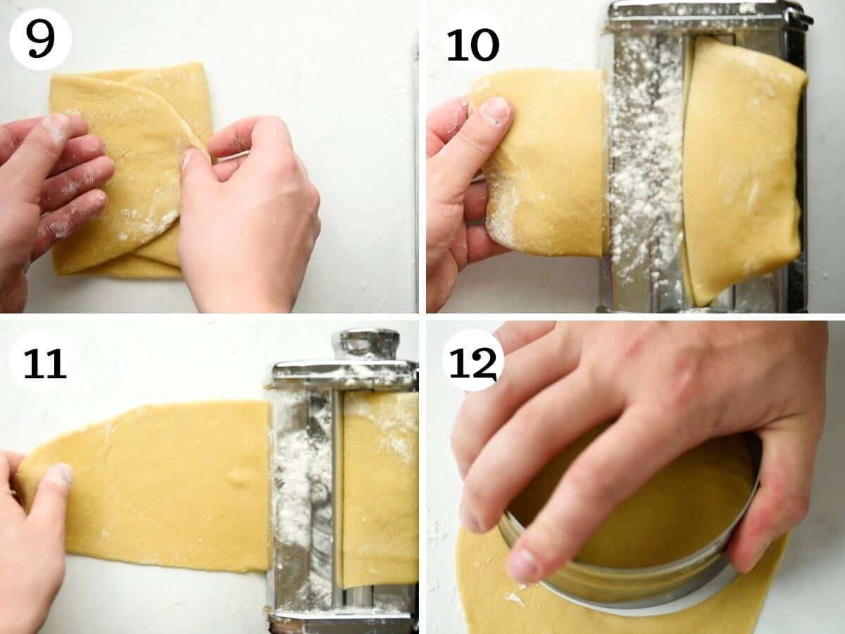 Step by step photos showing how to roll out cannoli dough with a pasta machine
