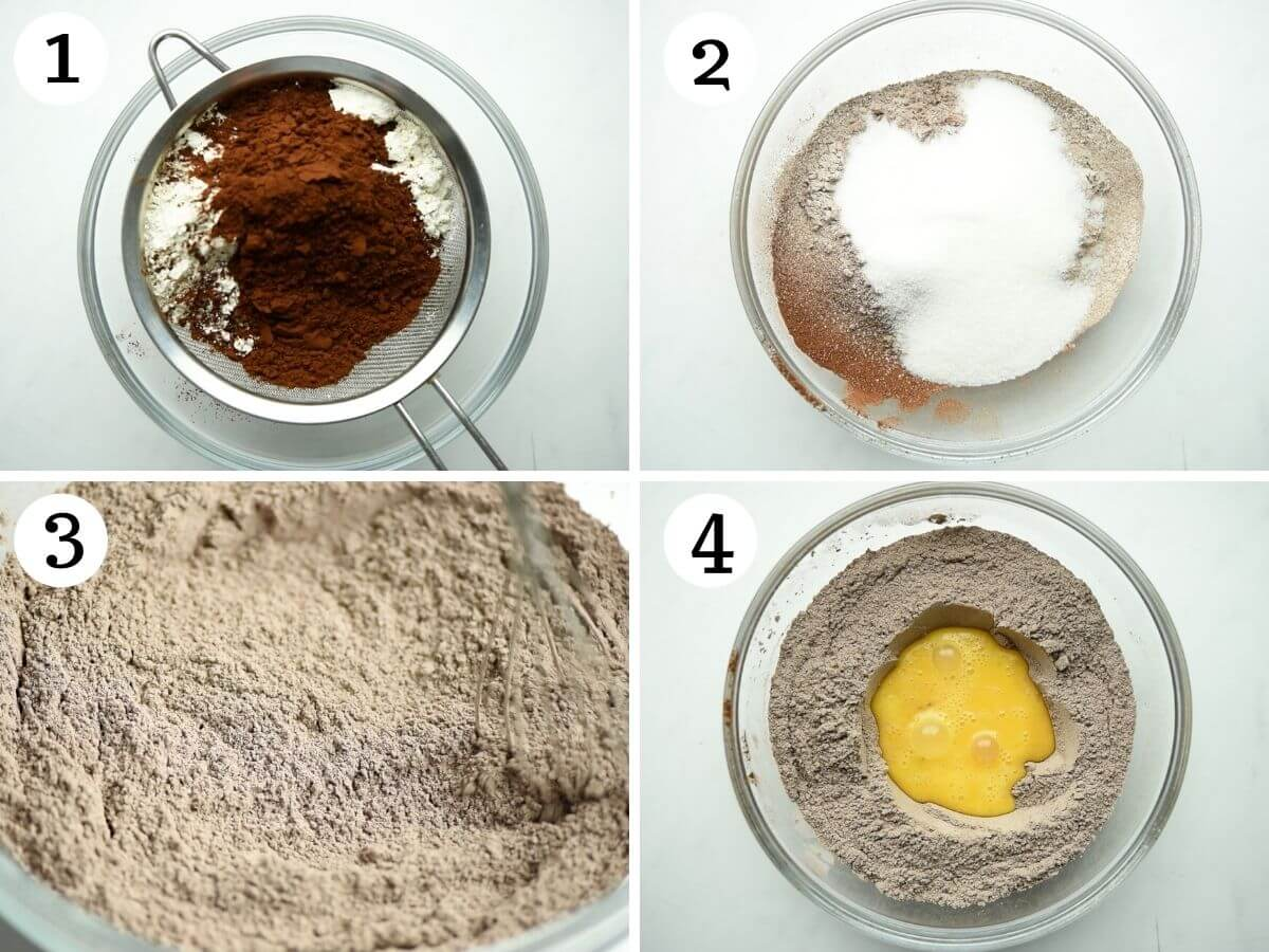 Step by step photos showing how to mix chocolate biscotti dough