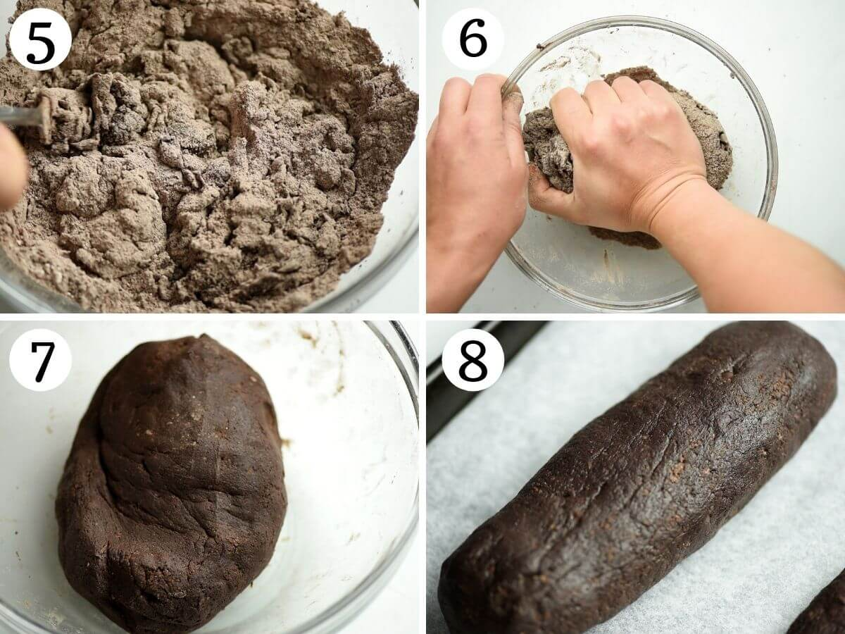 Step by step photos showing how to knead biscotti dough