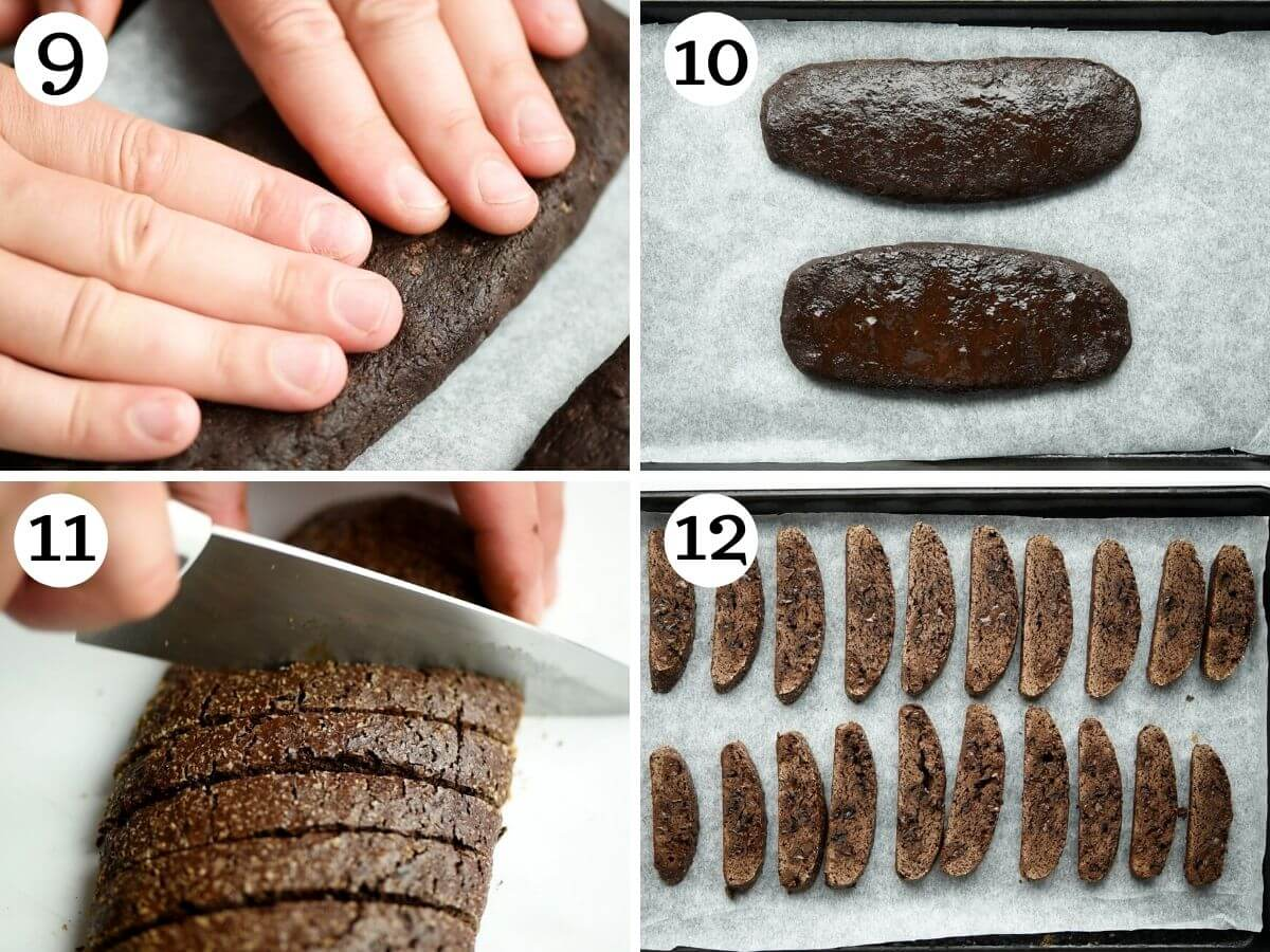 Step by step photos showing how to bake and cut biscotti