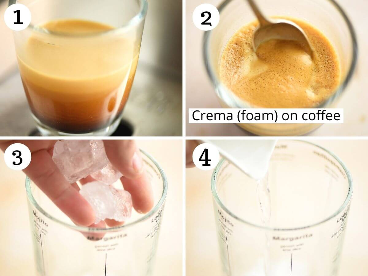 Step by step photos showing how to brew a coffee for a foamy espresso martini