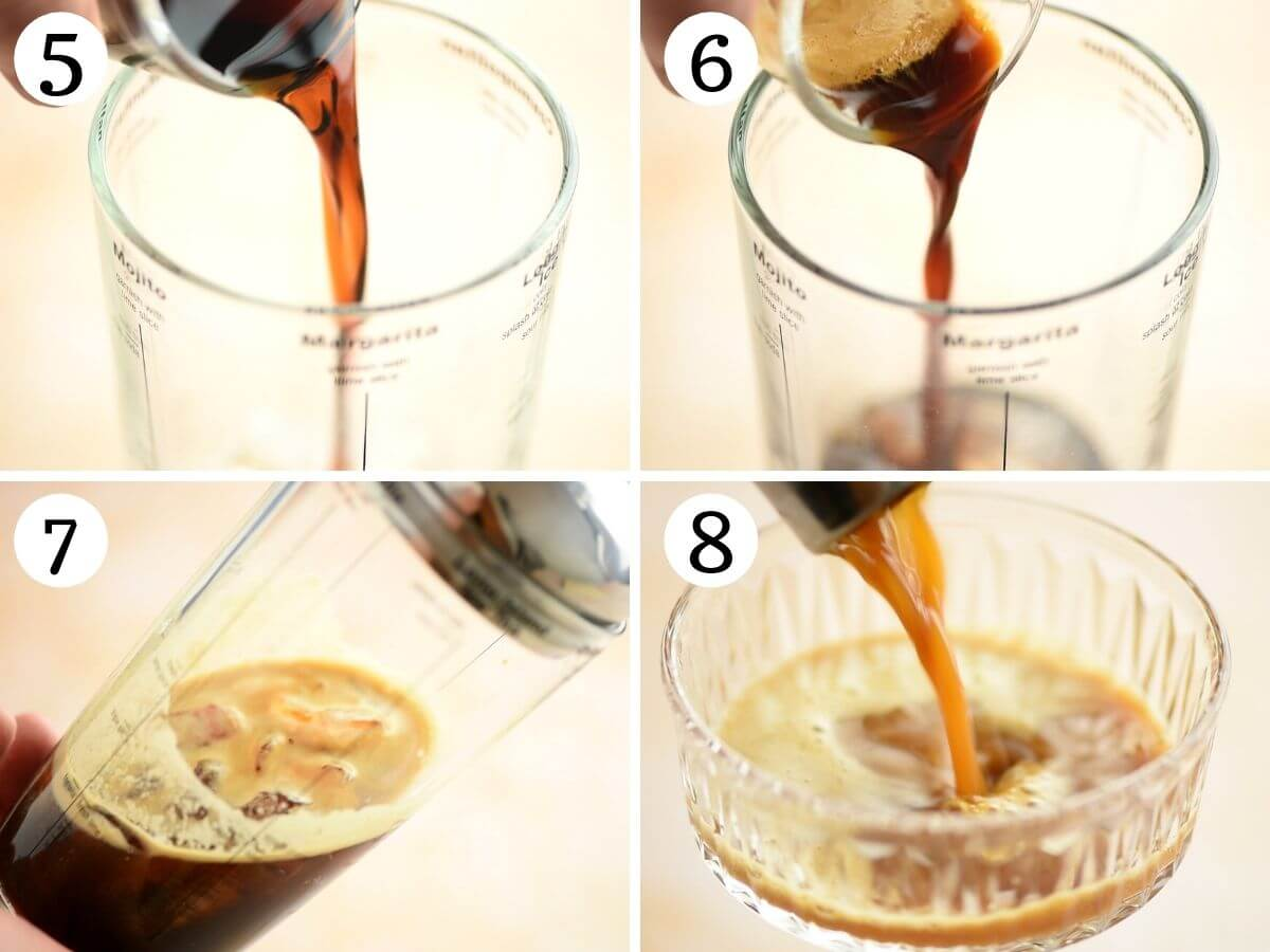 Step by step photos showing how to make and pour and espresso martini