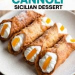 A pinterest graphic of homemade cannoli