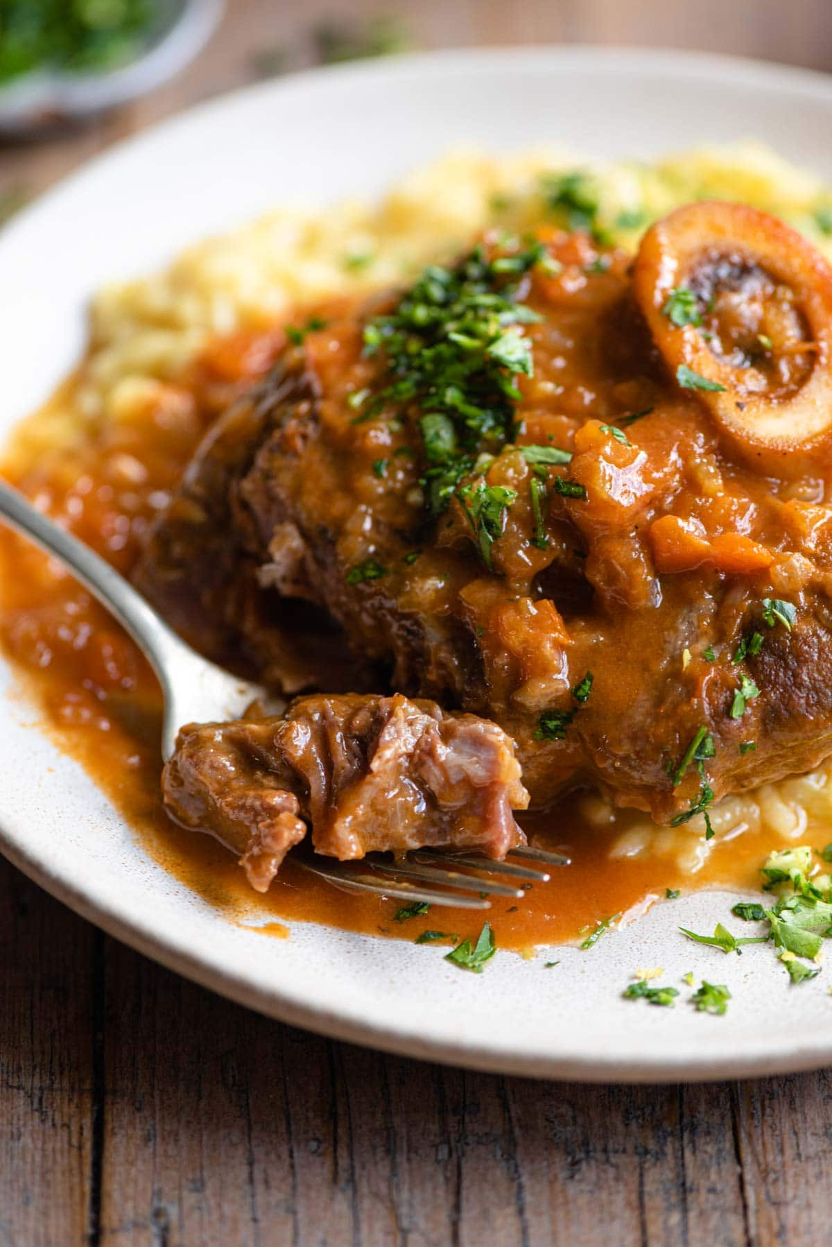 A close up of a piece of osso bucco on a fork with sauce