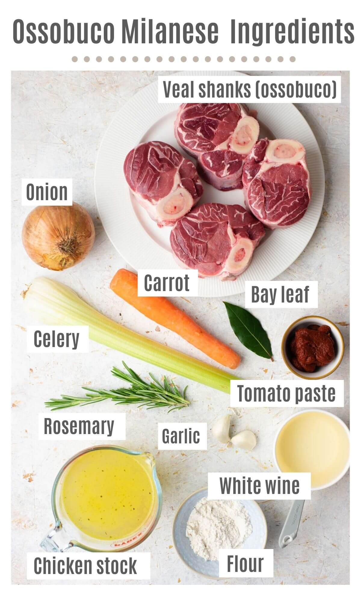 An overhead shot of all the ingredients you need to make Ossobuco Milanese with veal