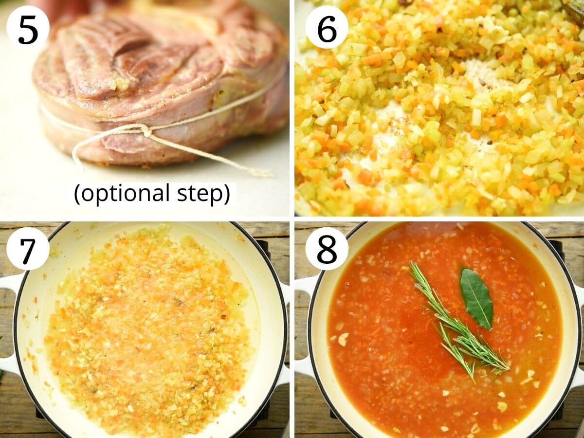 Step by step photos showing how to make sauce for ossobuco