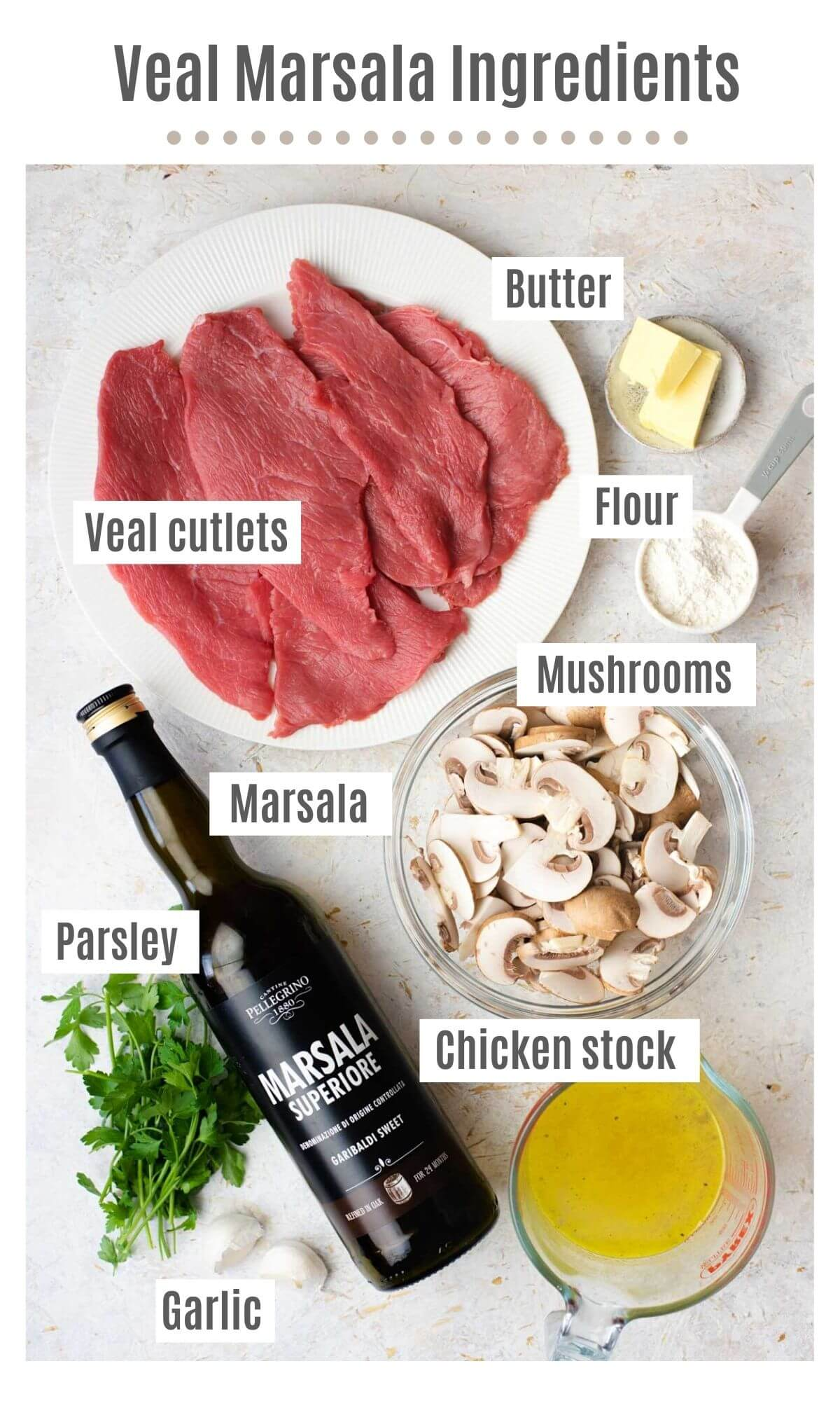 An overhead shot of all the ingredients you need to make veal marsala