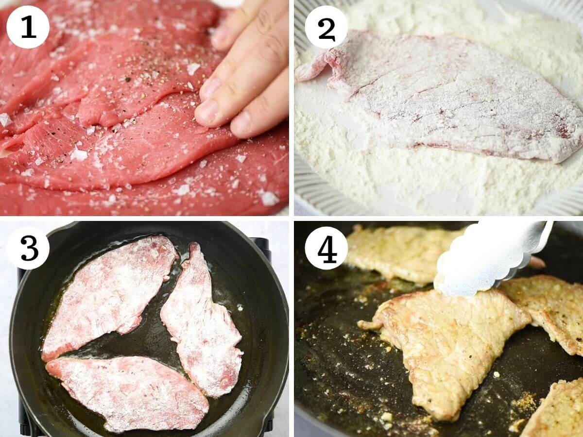 Step by step photos showing how to dredge and brown veal