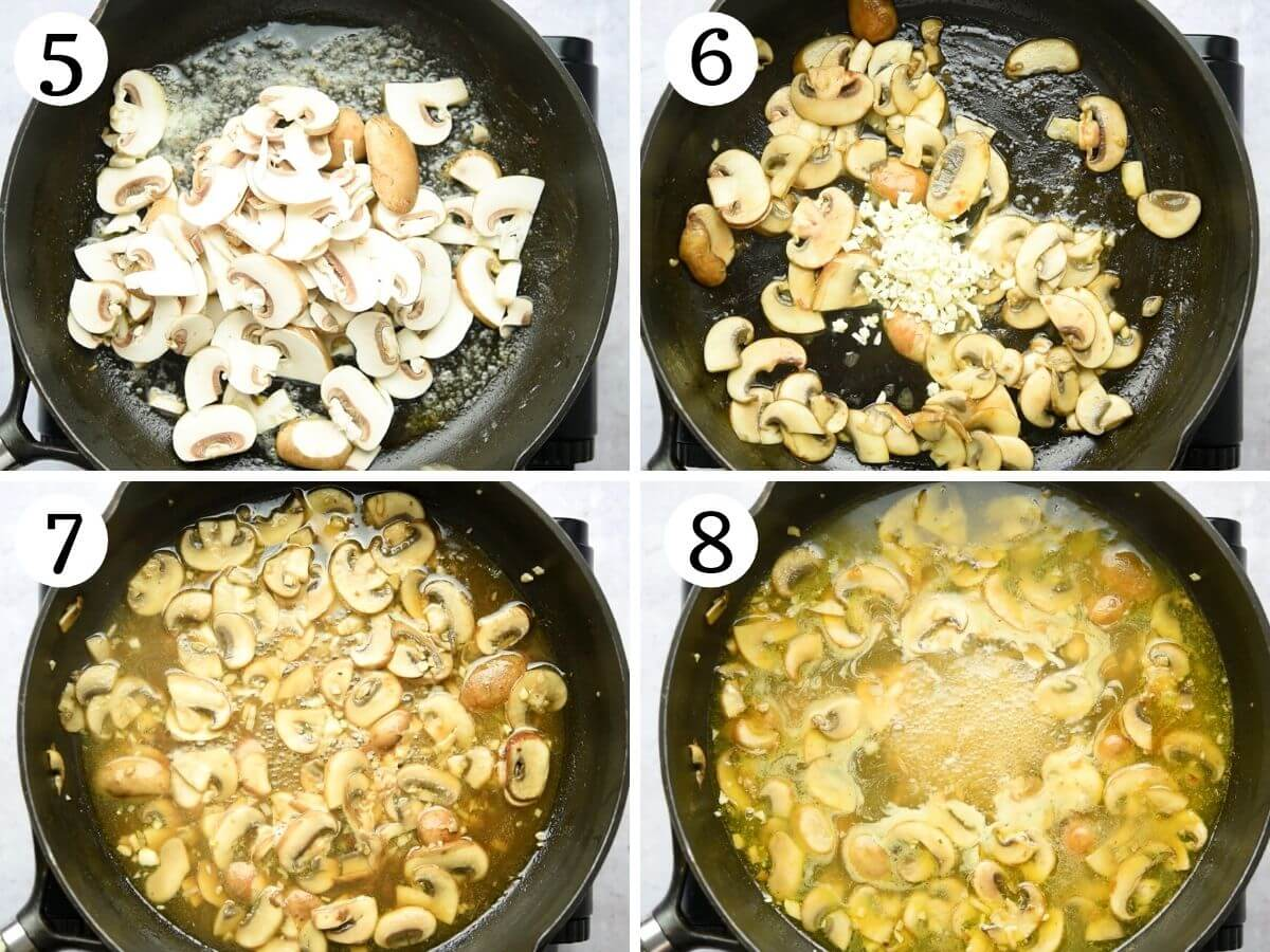 Step by step photos showing how to make veal marsala sauce with mushrooms