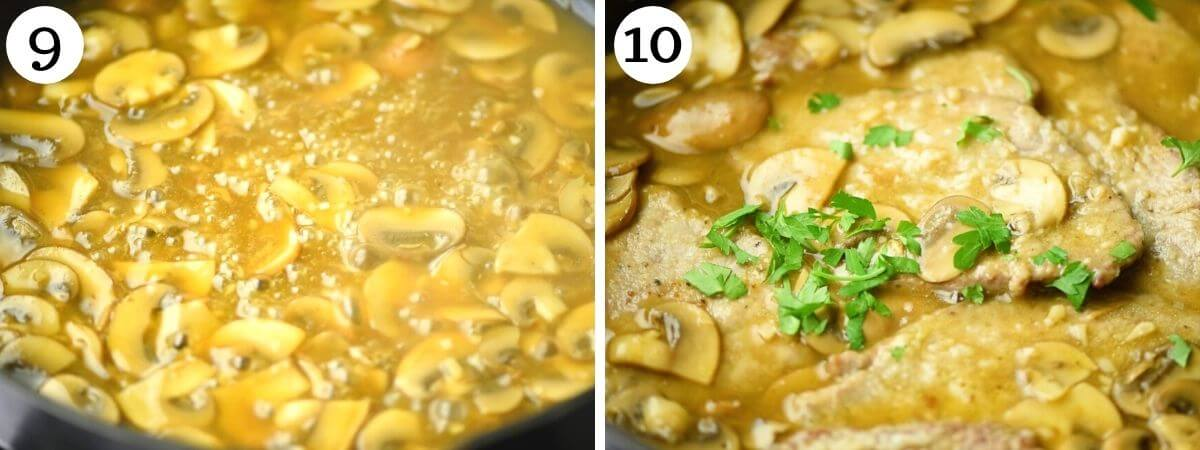 Two photos showing how to thicken the veal marsala sauce
