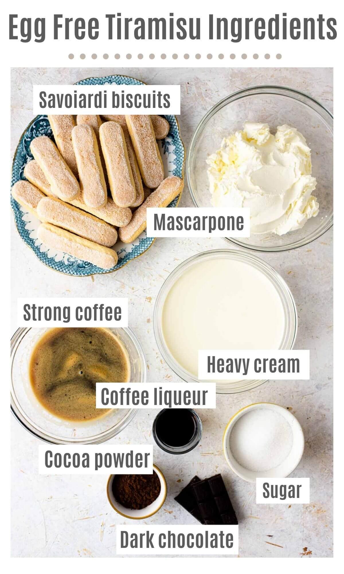 An overhead shot of all the ingredients you need to make egg free tiramisu