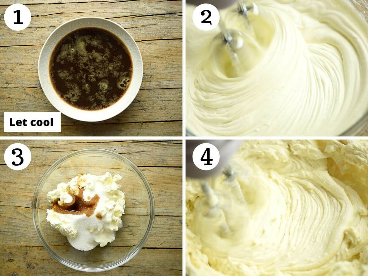 Step by step photos showing how to make the filling for tiramisu