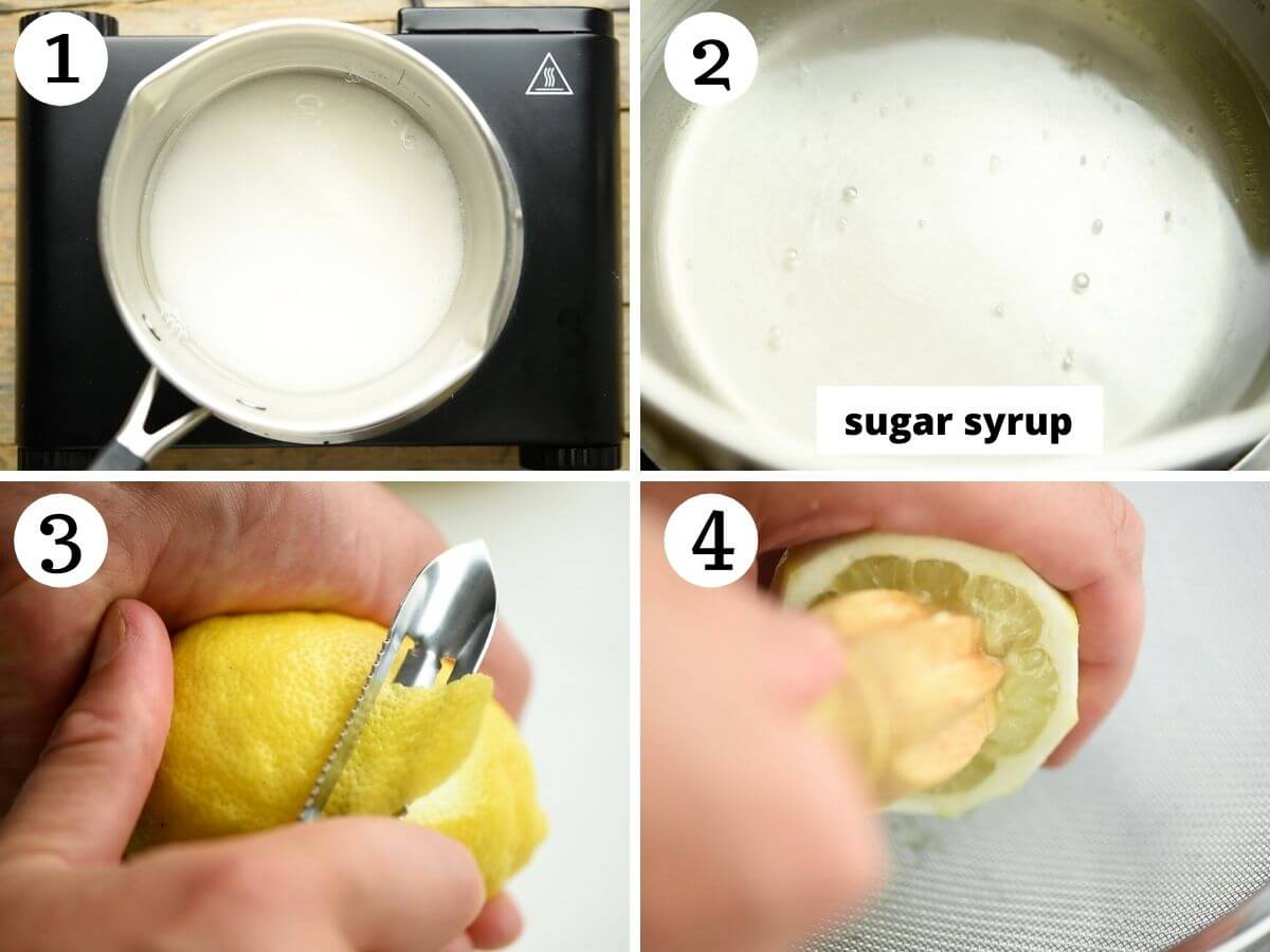 Step by step photos showing how to make sugar syrup and prepare lemons