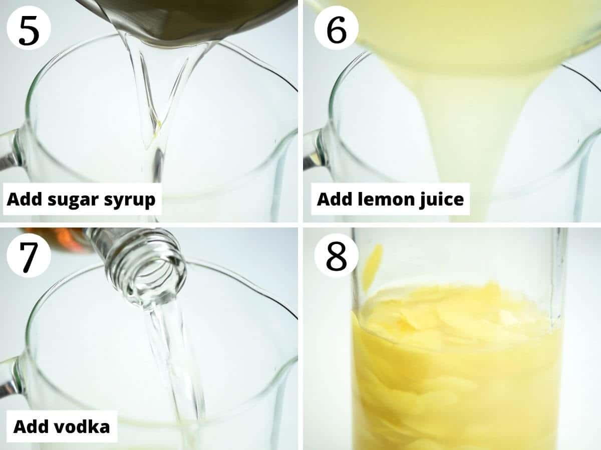 Step by step photos showing how to make homemade limoncello