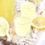 close up of small glasses of homemade limoncello