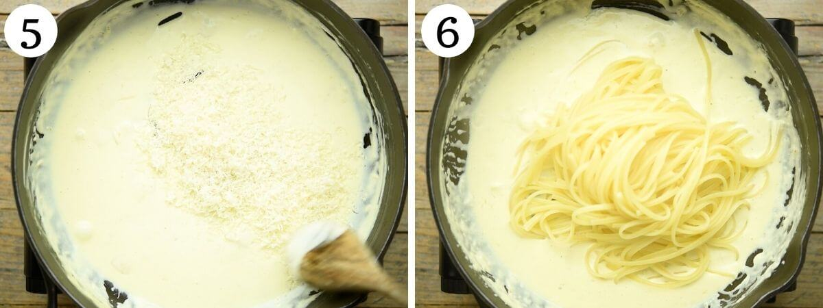 Step by step photos showing how to add pasta to creamy lemon pasta sauce