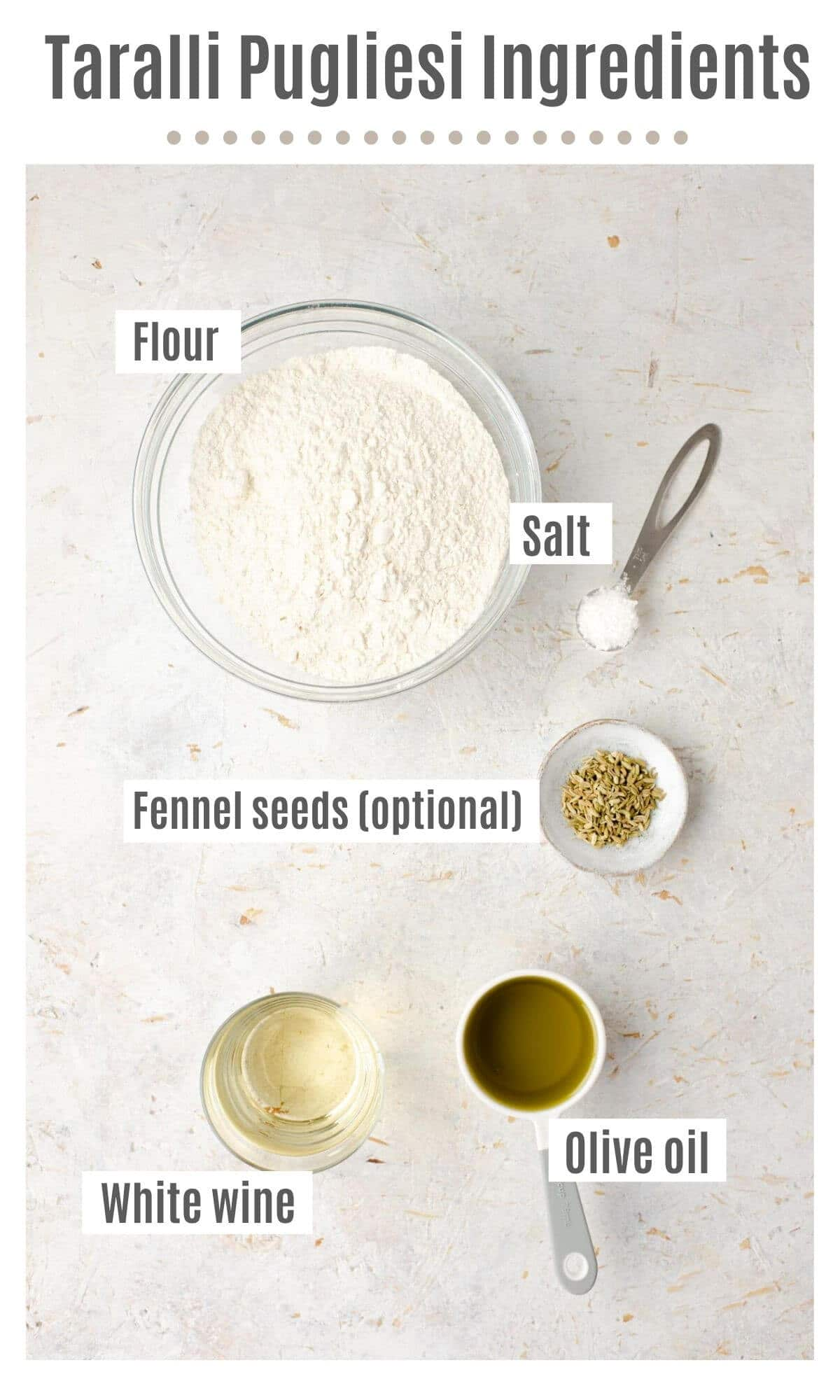 An overhead shot of all the ingredients you need to make Taralli