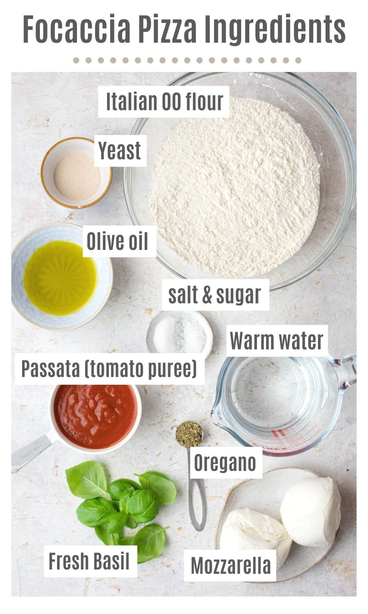 An overhead shot of all the ingredients you need to make focaccia pizza