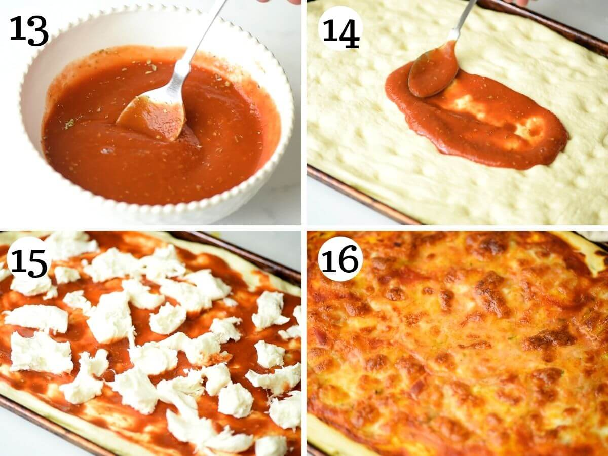 step by step photos showing how to put toppings on a focaccia pizza