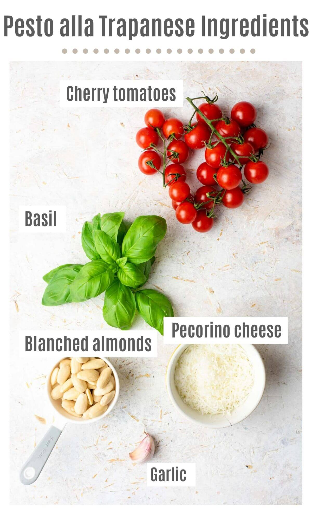 An overhead shot of all the ingredients you need to make pesto alla trapanese