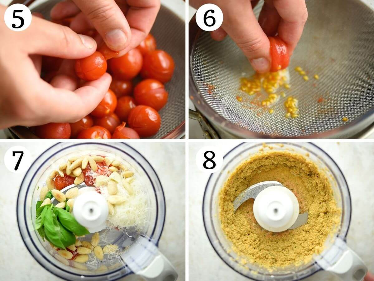 step by step photos showing how to make pesto alla trapanese from scratch